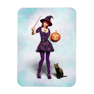 Cute Halloween Witch with Black Cat and Pumpkin Magnet