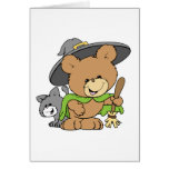 cute halloween witch with black cat teddy bear des greeting card
