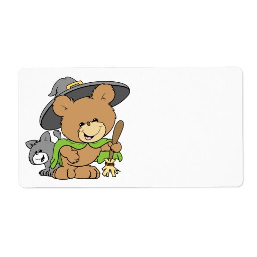 cute halloween witch with black cat teddy bear des custom shipping labels