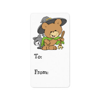 cute halloween witch with black cat teddy bear des address label