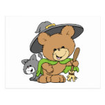 cute halloween witch with black cat teddy bear des postcard