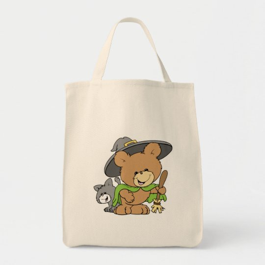 cute halloween witch with black cat teddy bear des tote bag