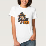 Cute Halloween Witch With Cat And A Pumpkin Tshirts