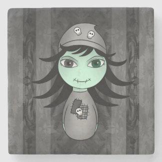 Cute Halloween zombie girl Stone Coaster