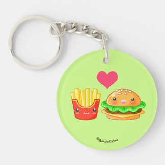 Cute Hamburger & Fries Round Keychain