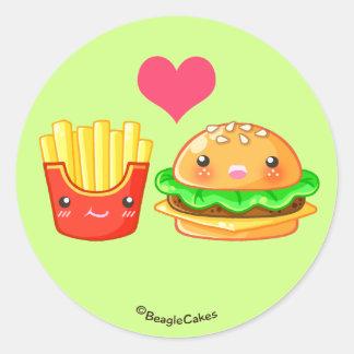 Cute Hamburger & Fries Round Stickers