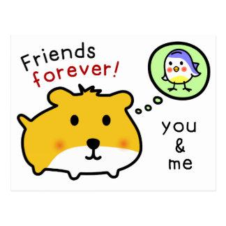 cute hamster forever friends postcard