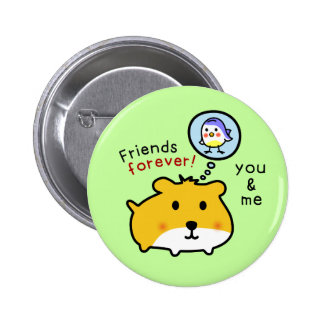 cute hamster friends button