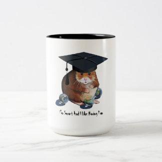 Cute Hamster: Grad Cap, Marbles: Smart And Fun Two-Tone Coffee Mug