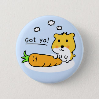 cute hamster hungry pinback button