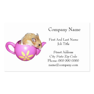 Cute Hamster in a Pink Teapot Photo Business Card