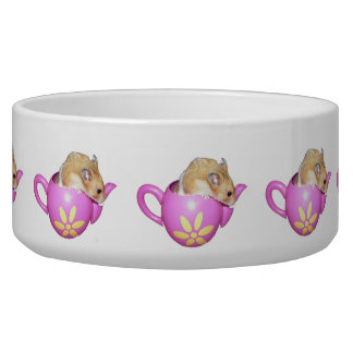 Cute Hamster in a Pink Teapot Photo Dog Bowls