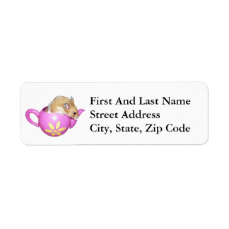 Cute Hamster in a Pink Teapot Photo Label