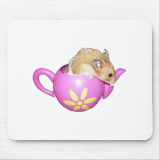 Cute Hamster in a Pink Teapot Photo Mouse Pad