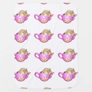 Cute Hamster in a Pink Teapot Photo Swaddle Blankets
