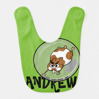 CUTE HAMSTER IN BALL BABY PERSONALIZED BIB