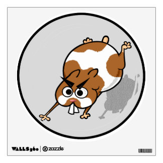 CUTE HAMSTER IN BALL ROUND WALL DECAL