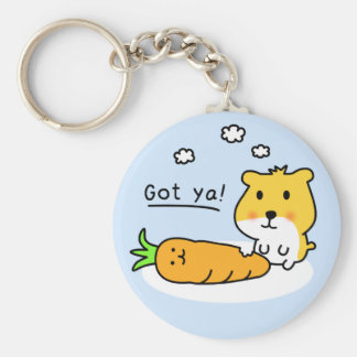 cute hamster is hungry basic round button keychain