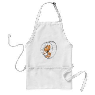 cute hamster running in wheel adult apron