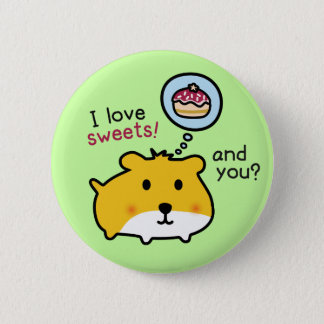 cute hamster timmy pinback button