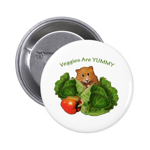 Cute Hamster: Veggies Are Yummy: Health, Nutrition 2 Inch Round Button