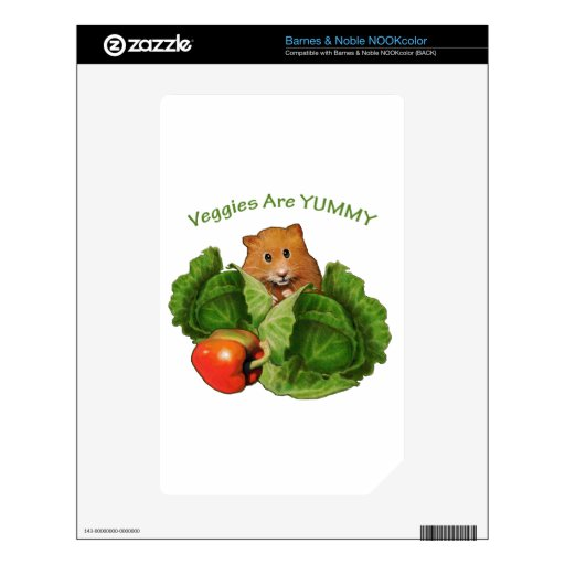 Cute Hamster: Veggies Are Yummy: Health, Nutrition Decals For NOOK Color