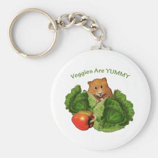 Cute Hamster: Veggies Are Yummy: Health, Nutrition Keychain