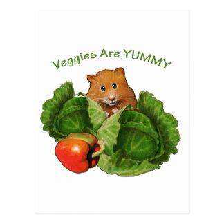 Cute Hamster: Veggies Are Yummy: Health, Nutrition Postcard