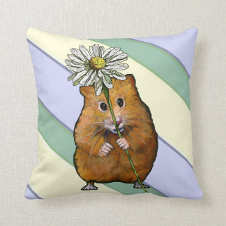 Cute Hamster With Big Daisy Flower, Stripes, Art Throw Pillow