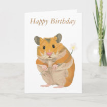 Cute Hamster with Flower Card