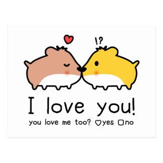Cute hamsters in love postcard