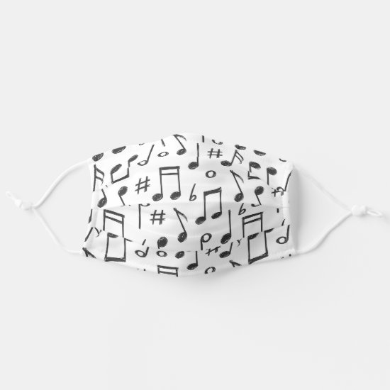 Cute Hand Drawn Black And White Music Notes Cloth Face Mask