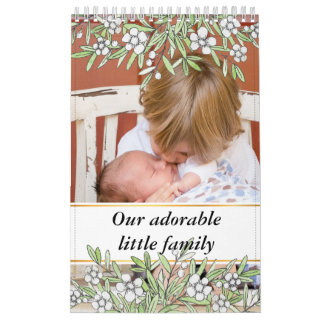 Cute hand drawn botanical frame family baby photos calendar