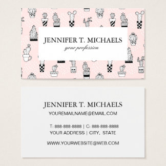 Cute Hand Drawn Cactus Pattern Business Card