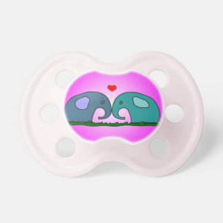 Cute hand drawn elephants in love baby pacifier