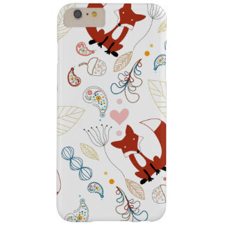 Cute Hand Drawn Fox Hearts in Yellow Blue Pink Barely There iPhone 6 Plus Case