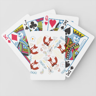Cute Hand Drawn Fox Hearts in Yellow Blue Pink Bicycle Playing Cards