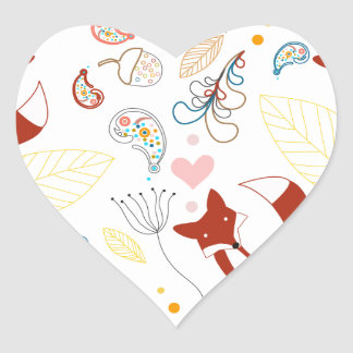 Cute Hand Drawn Fox Hearts in Yellow Blue Pink Heart Sticker