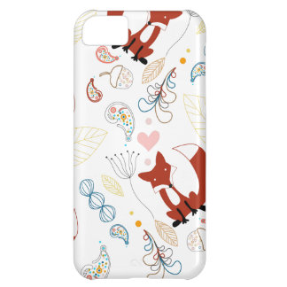 Cute Hand Drawn Fox Hearts in Yellow Blue Pink iPhone 5C Cover