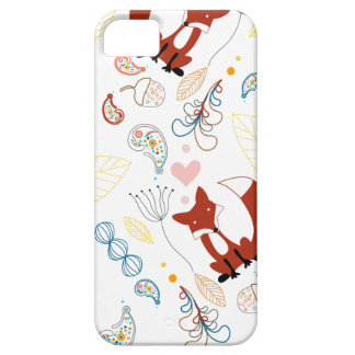 Cute Hand Drawn Fox Hearts in Yellow Blue Pink iPhone SE/5/5s Case