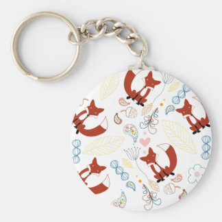 Cute Hand Drawn Fox Hearts in Yellow Blue Pink Keychain