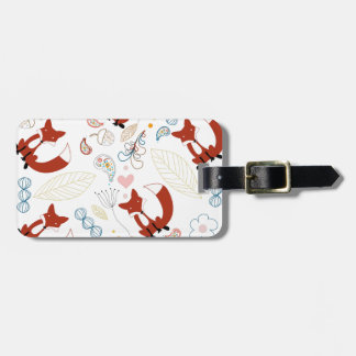 Cute Hand Drawn Fox Hearts in Yellow Blue Pink Luggage Tag