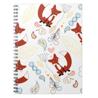 Cute Hand Drawn Fox Hearts in Yellow Blue Pink Note Book