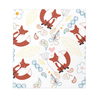 Cute Hand Drawn Fox Hearts in Yellow Blue Pink Notepad