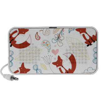 Cute Hand Drawn Fox Hearts in Yellow Blue Pink iPhone Speaker