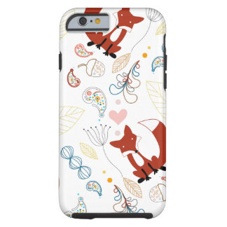 Cute Hand Drawn Fox Hearts in Yellow Blue Pink Tough iPhone 6 Case