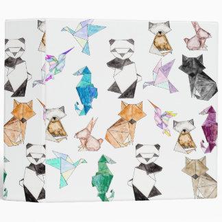 Cute Hand Drawn Geometric Paper Origami Animals Binder