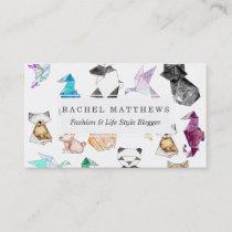 Cute Hand Drawn Geometric Paper Origami Animals Business Card