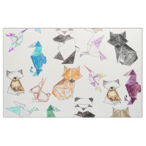 Cute Hand Drawn Geometric Paper Origami Animals Fabric