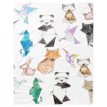 Cute Hand Drawn Geometric Paper Origami Animals Fleece Blanket